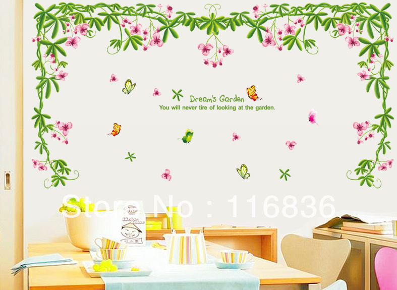 Free Shipping New Products For Decorative Green Dream 39 S Garden Wall Stickers For Home Decoration