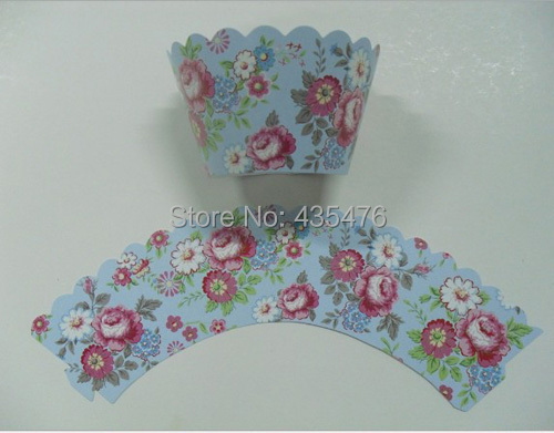 Factory 120pcs/lot Blue Peony Cupcake Wrapper Paper Cake Muffin Decoration Thanksgiving Day Party Favors Supply Free Shippinng(China (Mainland))