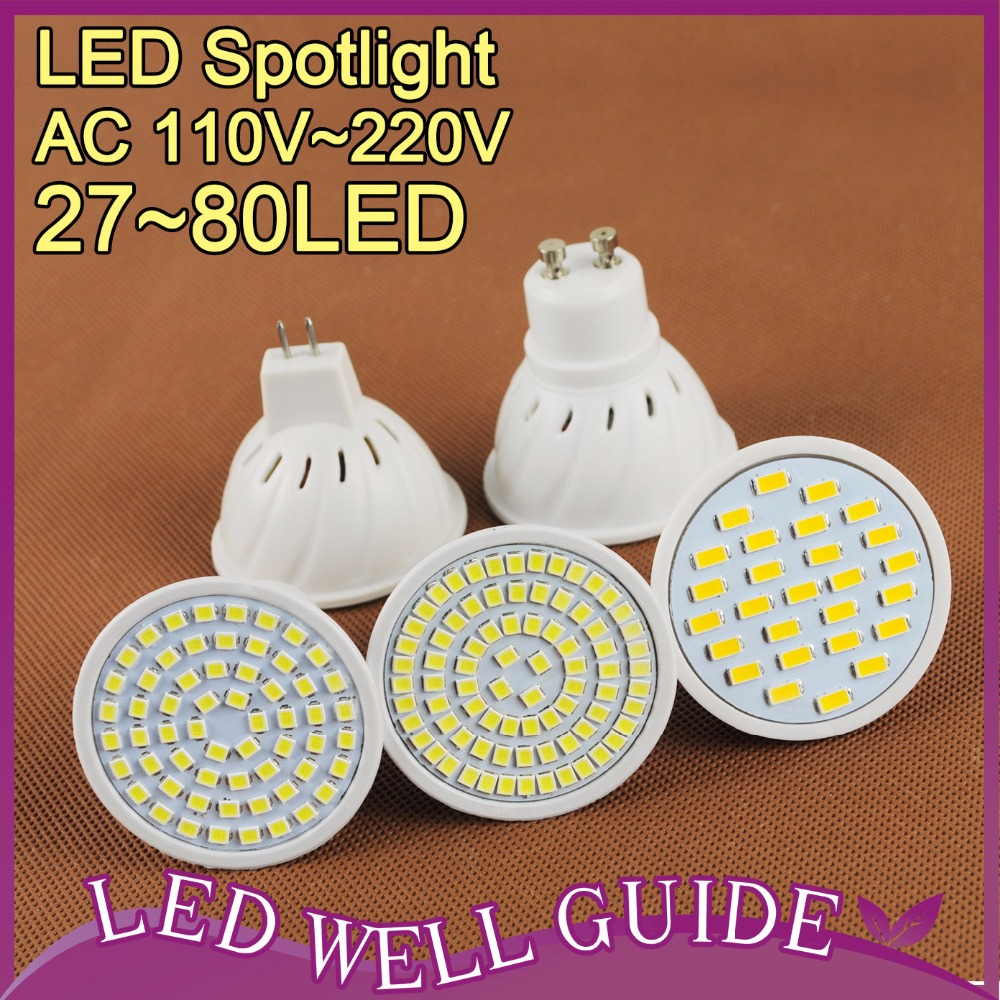 LED spot light 27~80LEDs 9W 8W 7W MR16 GU10 led lamp 220V 110V led spotlight Warm Cold White Bulb lampada ampoule led SMD2835(China (Mainland))