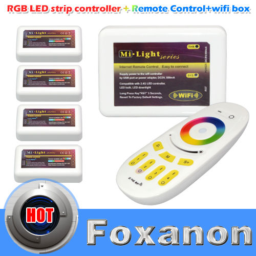 100% Original Mi Light 2.4G 4-Zone Touch Remote+4x LED RGBW Dimmable Controller 12-24V + 1x Wifi Controller For RGBW Strip Bulb(China (Mainland))