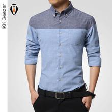 2015 mode hommes chemises en coton à manches longues entreprise Shirt Slim Fit flanelle Casual Male Stripe célèbre marque de chemises(China (Mainland))
