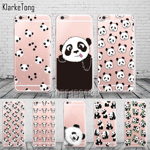 Cute Cartoon Animal Panda Case For Iphone SE 5 5S 6 6S 7 Plus Transparent Silicone Phone Back Cover Coque(China (Mainland))