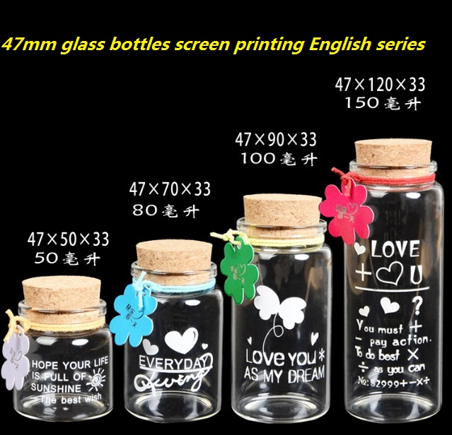 High borosilicate glass bottle with cork wishing bottle drift bottle seal transparent Creative Decorative Vials screen printing(China (Mainland))