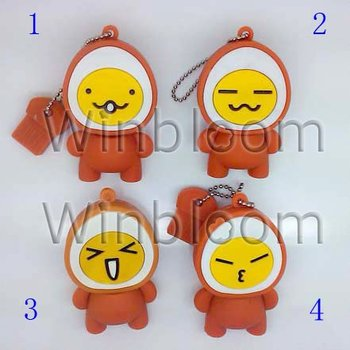 Egg Head Doll 02 USB Flash Drive 4GB 8GB 16GB 32GB Real Capacity PVC PenDrive PU0206