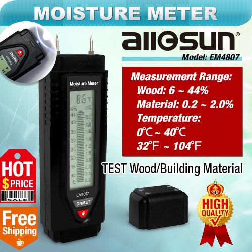 all-sun EM4807 Wood/Building material moisture tester illumination moisture measurement sawn timber hardened material analyzer(China (Mainland))