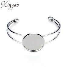 Buy XINYAO Silver Color Bracelet Bangle Blank Base Tray 20 25 mm Cabochon Cameo Settings Bezel Diy Jewelry Making Accessories F3086 for $1.31 in AliExpress store