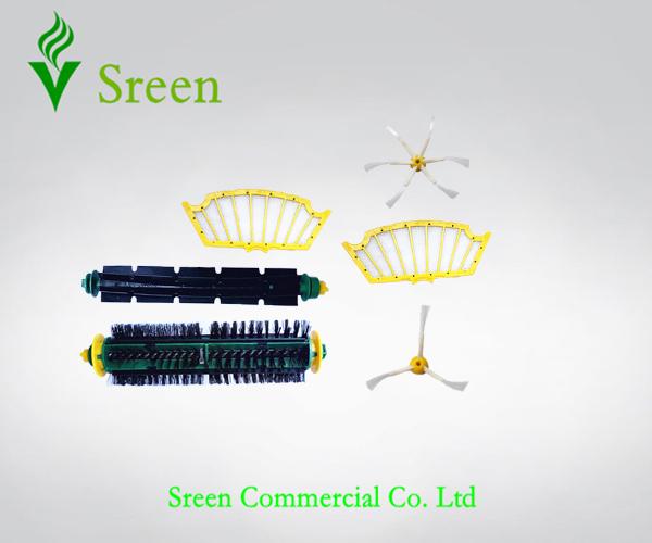 Vacuum Cleaning Parts 1 Set Brush + 2 Filter + 2 Side Brush for iRobot Roomba 500 Series 510 520 530 540 550 560 570 610 Robotic(China (Mainland))