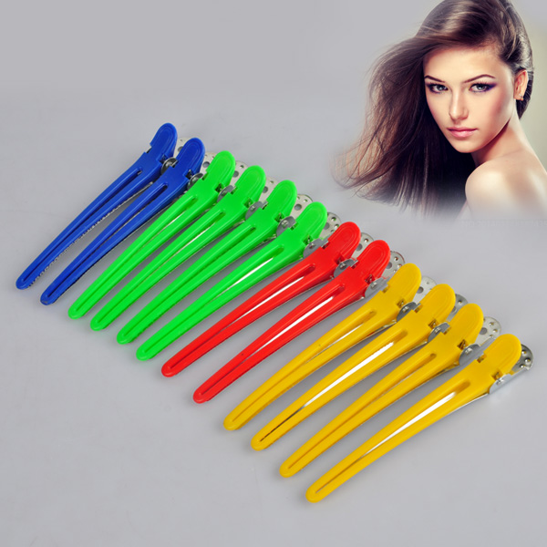 12pcs Hot Professional Hairdressing Hair Sectioning Clips Clamps Super Quality Salon Hair Grip For Styling Tools Random Color(China (Mainland))