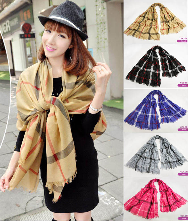 British Classic Plaid Cashmere Scarf Women ladies Warm Cashmere Polyester Scarves Shawl 5 colors L030(China (Mainland))