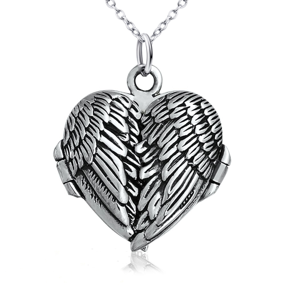 Angel Wings Heart 925 Sterling Silver Pendant Locket Guardian Memorial Necklace(China (Mainland))