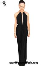 WomensDate 2016 Hot Sale Summer Sexy Club Dress Black Silky Jewel Halter Jersey Dress Women Sleeveless Long Dress