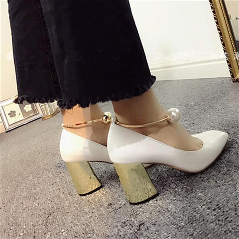 Fashion White Square Toe Women Gladiator Pumps Sexy Pearl Clasp Ladies High Heels Wedding Dress Shoes Woman Valentine Shoe