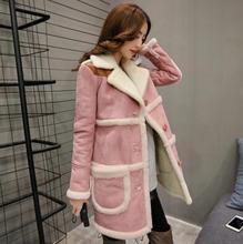 Time Silhuette 2017 Winter Coat Women Long Suede Jacket Lapel Warm Patchwork Coats Women Lamb Wool Motorcycle Parka Jaqueta L242(China)
