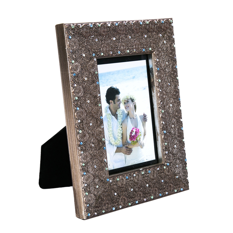 newest design rhinestone picture frame wedding gift wood photo frame ...