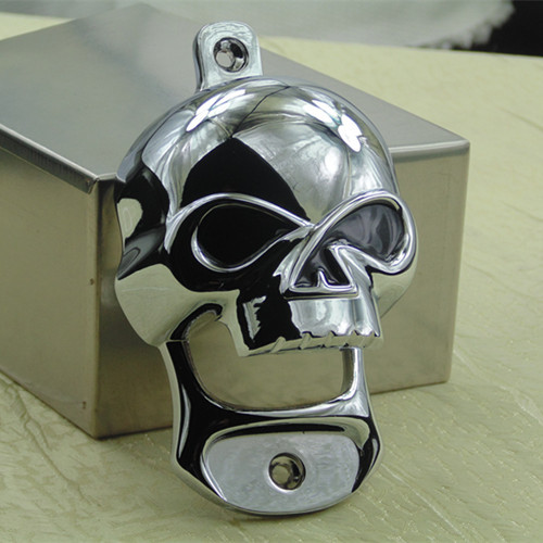 New Stainless Steel Skull Wall Mount Bottle Opener Head