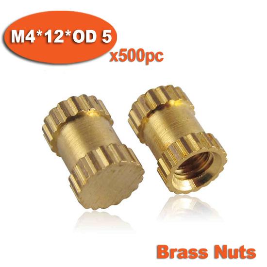 500pcs M4 x 12mm x OD 5mm Injection Molding Brass Knurled Thread Inserts Nuts<br><br>Aliexpress
