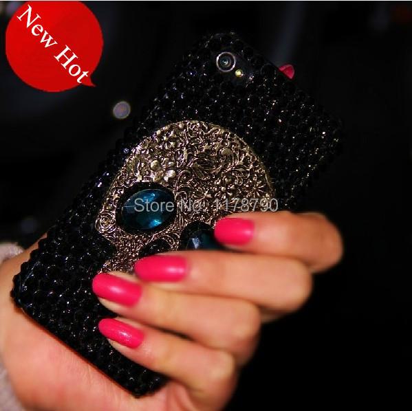Metal saphire eye Skull Bling Diamond Rhinestone Case for iPhone 4s 5s 5c 6 plus for samsung galaxy s3 s4 s5 s6 edge note 2 3 4(China (Mainland))