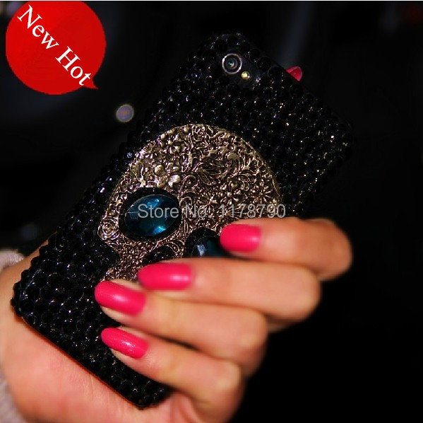 Metal saphire eye Skull Bling Diamond Rhinestone Case for iPhone 4s 5s 5c 6 plus for samsung galaxy s3 s4 s5 s6 edge note 2 3 4(China (Mainland))