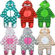 Newborn Autumn Winter Jumpsuit Baby Clothes Cartoon Romper Boy and Girl Costume Fleece Clothes bebes Long Sleeved Rompers(China (Mainland))