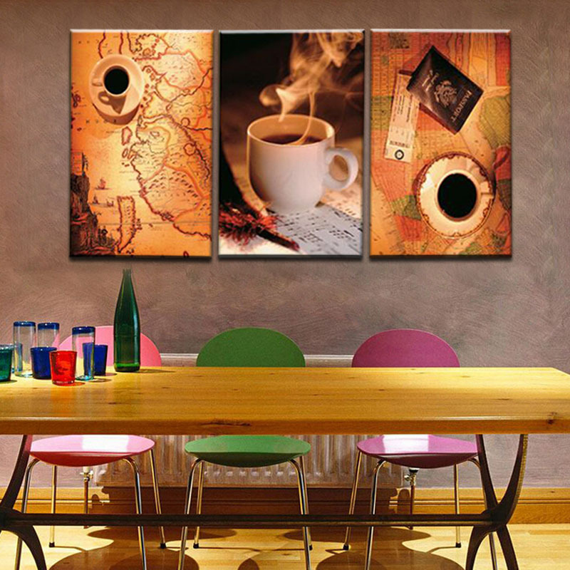 Unframed 3 Panel Vintage Map And Cup Of Coffee Europe