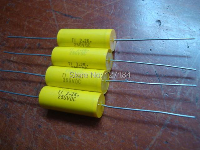 100PC/LOT TI original Film capacitors 250v 2.2uf  2200nf Axial capacitors yellow