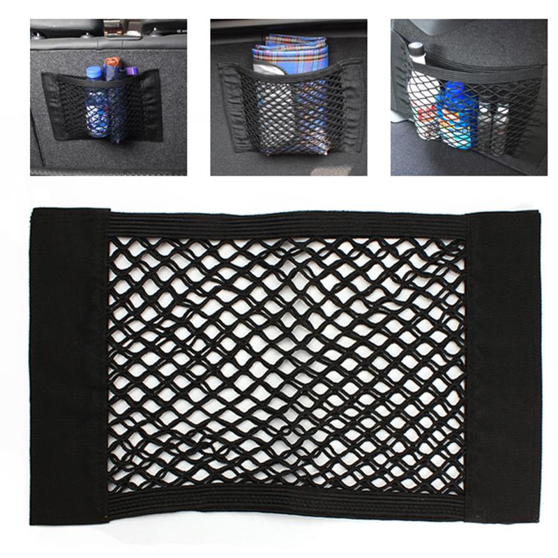 Strong Magic Tape Car Seat Back Storage Mesh Net Bag 40cm*25cm Luggage Holder Pocket Sticker Trunk Organizer Car Styling(China (Mainland))