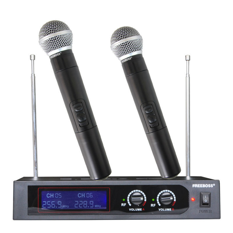 Freeboss SN-687 VHF 2 Handheld Wireless Microphone Dynamic Capsule Family Party Balanced+Unbalanced Output Wireless Microphone(China (Mainland))