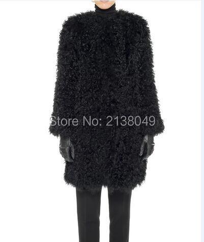 Fc04002 женщины натуральный мех носить сплошной цвет натуральный мех ягненка длинные пальто