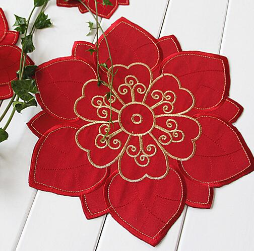 15/20/30cm European Red polyester table mats pads embroidered table matting cover for wedding Kitchen Accessories table textile(China (Mainland))