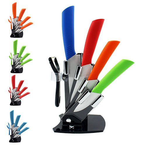 "4 color cooking tools kitchen knives set 3""4""5""6"" inch+Peeler+Acrylic Holder block ceramic knife paring knives free shipping(China (Mainland))"