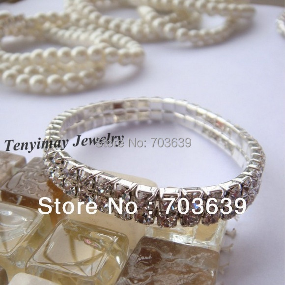 Free Shipping 2 Row Clear Transparent Crystal Stretchy Bracelets 50pcs Wholesale(China (Mainland))