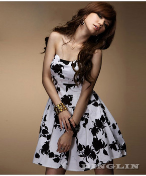 2015 New Off Shoulder Vintage Dress Women Retro Ladies Girl Strapless  Floral Print Sexy Tube Mini Vestidos 0782