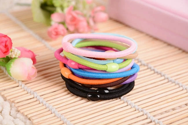 10pcs/lot 55mm Colorful Black Elastic Ponytail Holders Hot Sale Fashion Hair Accessories Girl Women Rubber Band Tie Gum 10 Mixed(China (Mainland))