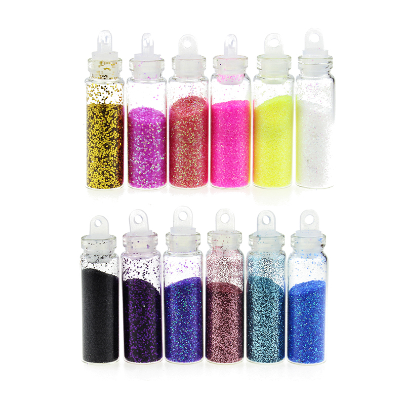 Colorful Phosphor Powder Nail Art Decorations Glitters DIY Nail Tools 12 Bottle/Set Women Jewelry ZP094(China (Mainland))