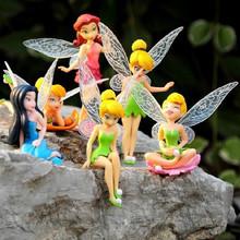 7.5-12CM Cartoon Tinkerbell Fairy PVC Anime Action Figure Toys Girls Dolls Kids Lovely Model Gift 6pcs/set