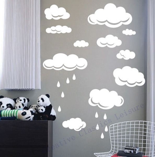 Free shipping Rain Drops Clouds Vinyl Wall Decal Stickers For Kids Room Wall Art Decor ,white or sky blue clouds