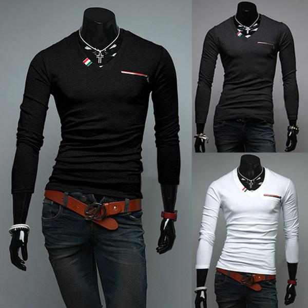 produto Korean men's fashion trend of foreign trade contracted Men Slim V-neck long-sleeved T-shirt placket Harmonia 37527 mens suit