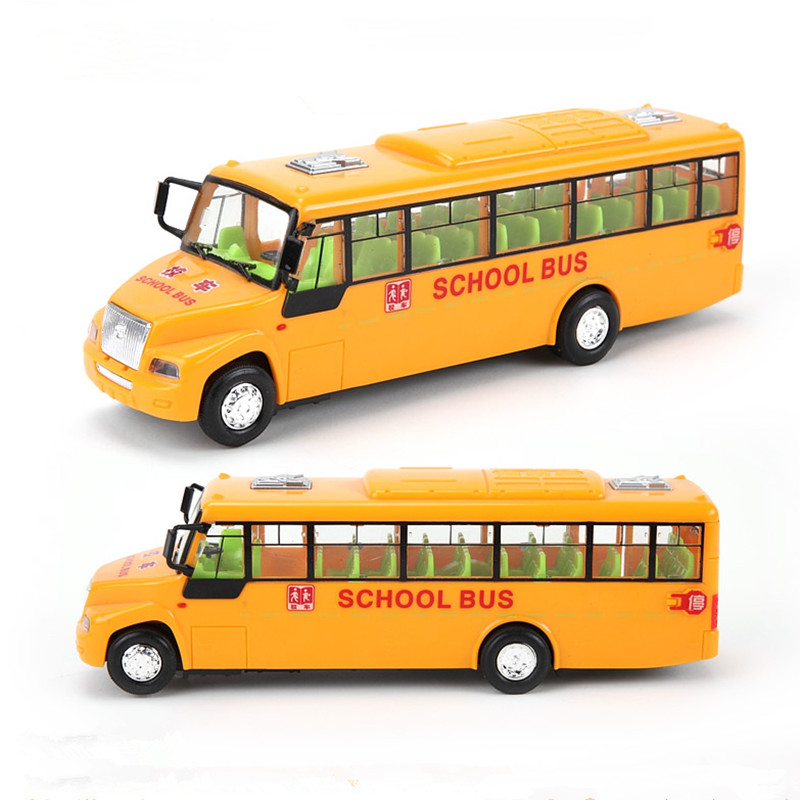 alloy school bus model car bus toy with 4 open door musical&flashing Classic Voice Light Toys For Children,Christmas gift(China (Mainland))