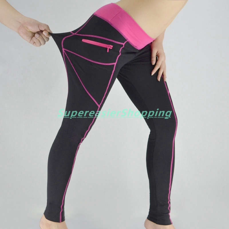 Hot Pink Ladies Yoga Pants Full Length Patchwork Zippers Pockets ...