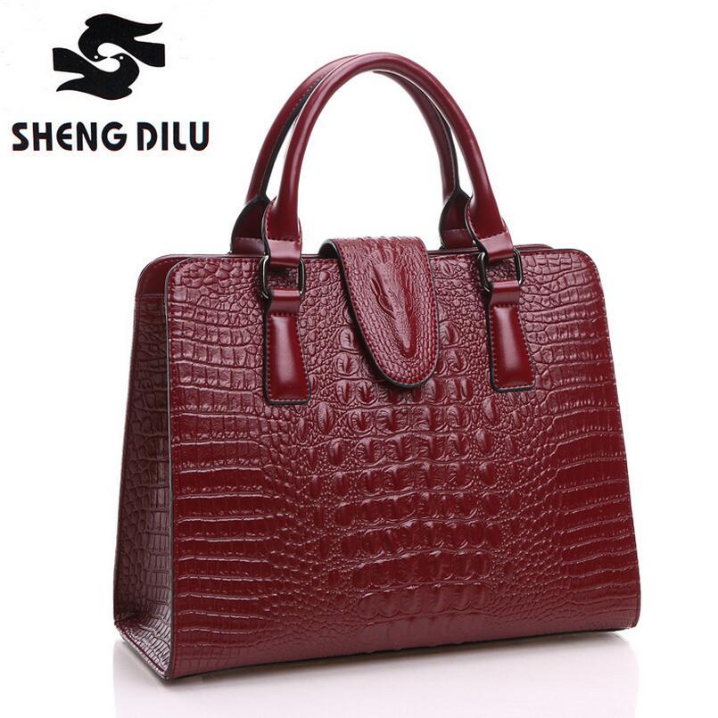 2016 Crocodile Pattern Genuine Leather Bag Women Shoulder Messenger Bags Handbags Women Famous Brands Designer High Quality<br><br>Aliexpress