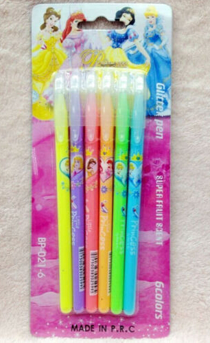 60 root Princess students pen Stationery 6 colors Glitter Pen Super Fruit Scent(China (Mainland))