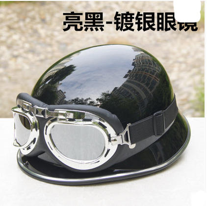 WWII ABS German germany Helmet Half face Cruiser Bicycle Casque Racing Motorcycle Bright BlackHelmet & Silver Glasses For Summer(China (Mainland))