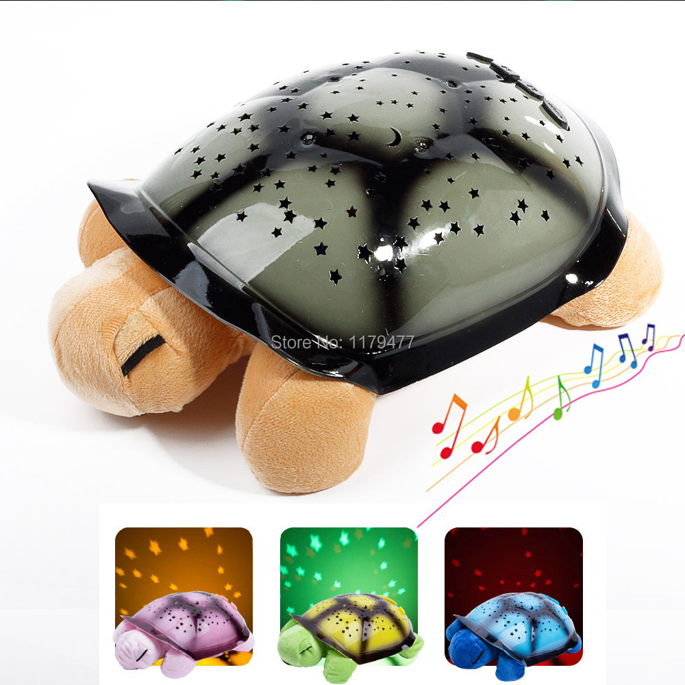 Most Popular Educational 5 Colors 4 Songs Toys Turtle Plush Musical LED Night Sky Lights For Kids As Birthday Gift(China (Mainland))