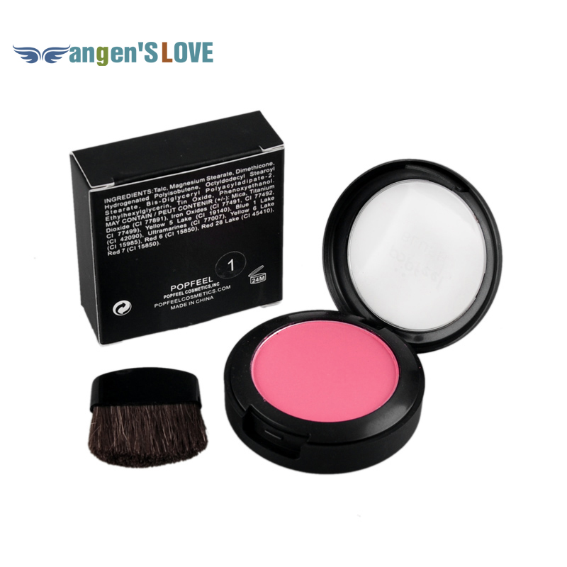 Popfeel Cosmetic Blush Makeup Face Powder Blush Cake Plus Compact Face Blusher with Brush and Compact Mirror 6g(China (Mainland))