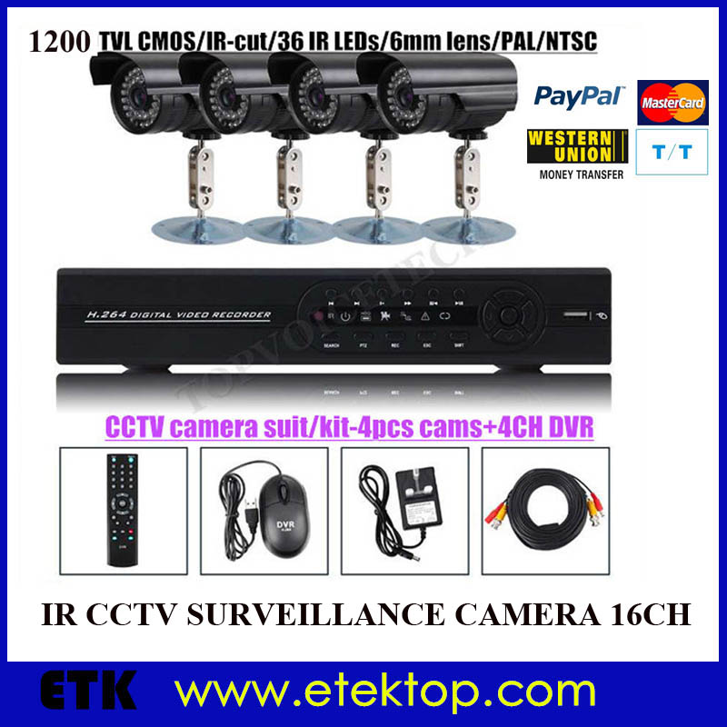 16CH channel Dome Bullet IR CCTV Camera Security ...