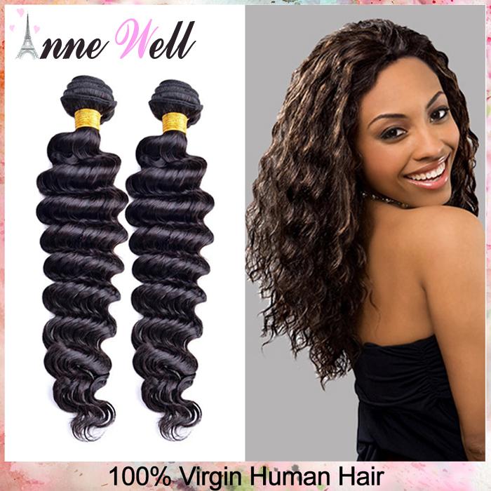 Best Sale 6A Peruvian Virgin Hair Deep Wave Cheap Peruvian Curly Human Hair Weave 3pcs lot Pure Color 1B Virgin Hair Extensions(China (Mainland))
