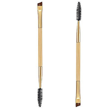 Wholesale  1PCS Makeup tools bamboo handle double eyebrow brush + eyebrow comb and makeup brush   HZS092-025(China (Mainland))
