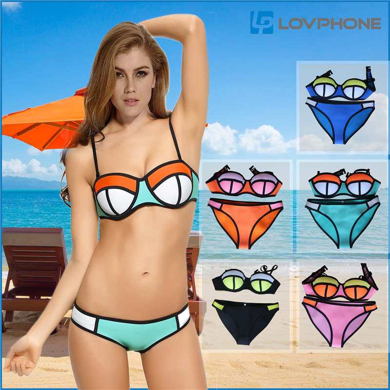 LovphoneSwimwear Women Fashion Neoprene Bikini set 2015 Summer New Sexy Woman Swimsuit Sandy beach triangle Bikini Suit big size(China (Mainland))