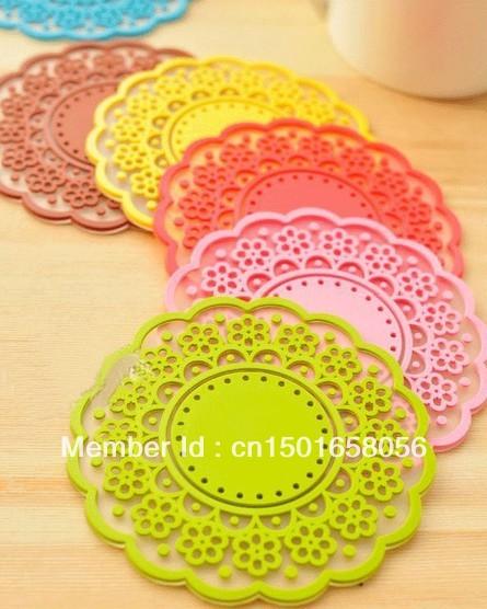 Wholesale Eco-friendly small doily with flower pattern circle heat pad waterproof mat bowl pad free shipping(China (Mainland))