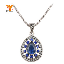 Hot 2015 Fashion Vintage Sapphire Necklace For Women Tibetan Silver Alloy Water Drop Pendant Wedding Necklace Cheap Sale Jewelry(China (Mainland))